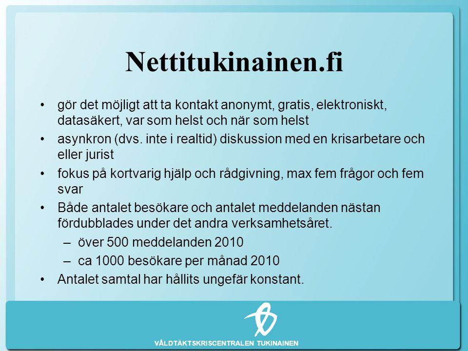 Nettitukinainen.fi gör det möjligt att ta kontakt anonymt, gratis, elektroniskt, datasäkert, var som helst och när som helst.