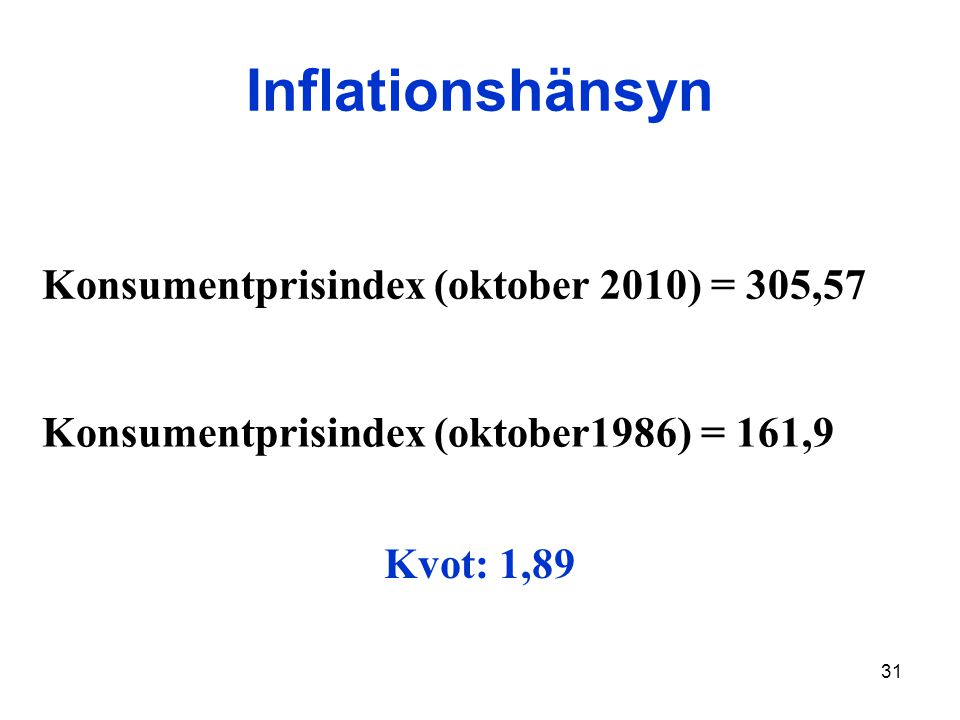 Inflationshänsyn Konsumentprisindex (oktober 2010) = 305,57