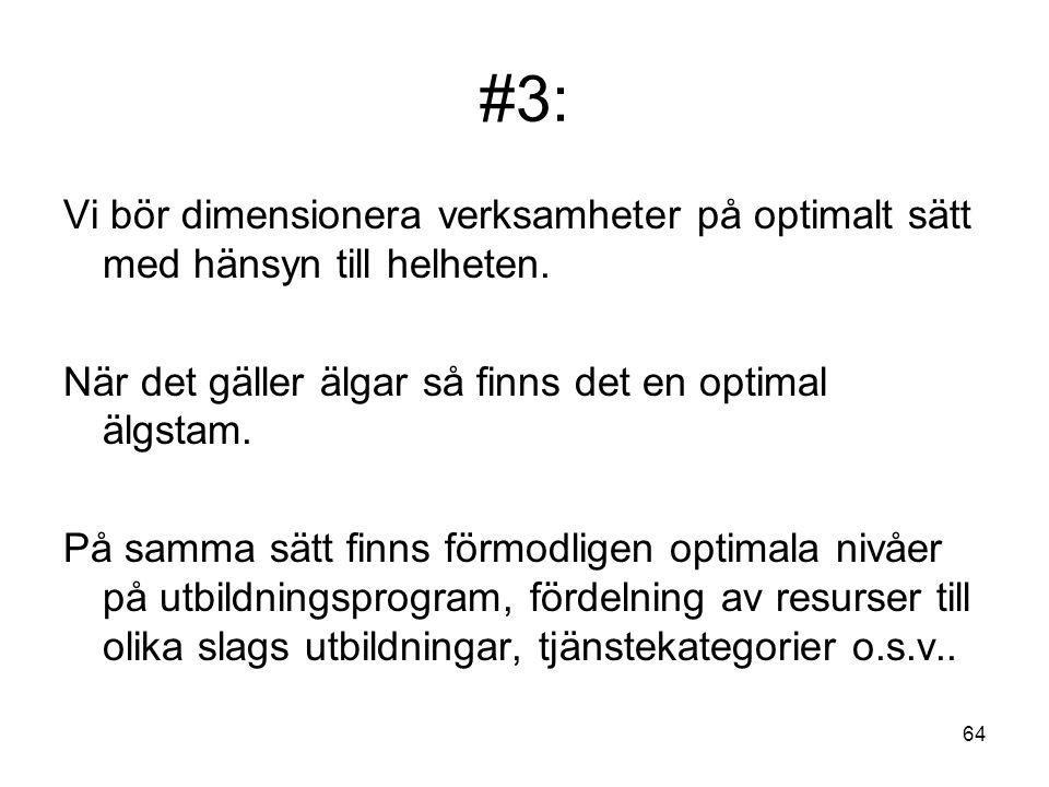 #3: Vi bör dimensionera verksamheter på optimalt sätt med hänsyn till helheten. När det gäller älgar så finns det en optimal älgstam.