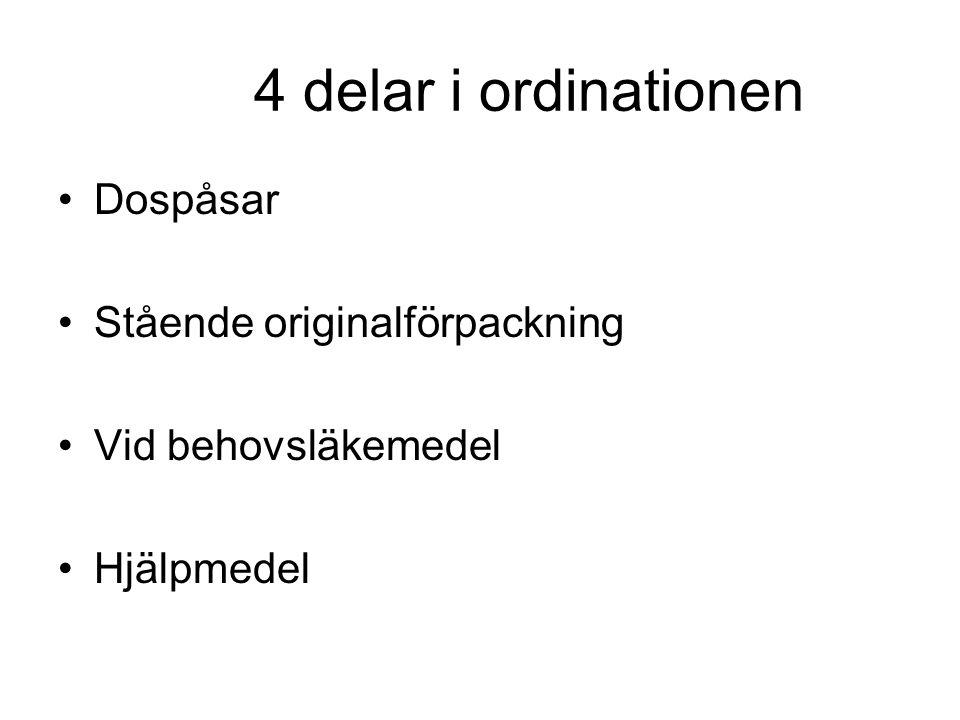 4 delar i ordinationen Dospåsar Stående originalförpackning