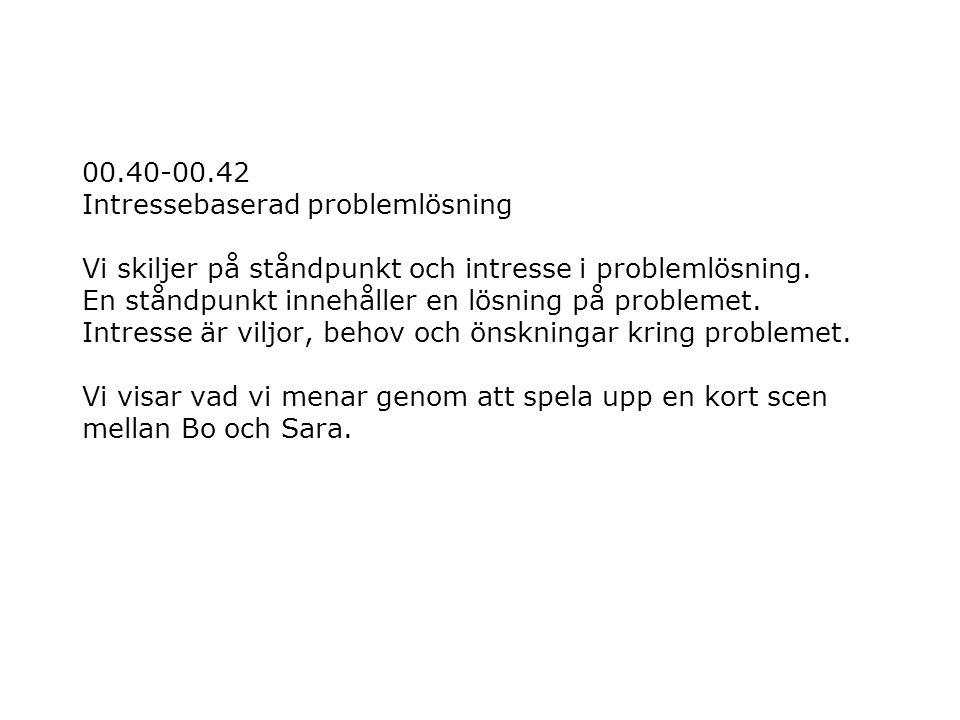 00.40-00.42 Intressebaserad problemlösning Vi skiljer på ståndpunkt och intresse i problemlösning.