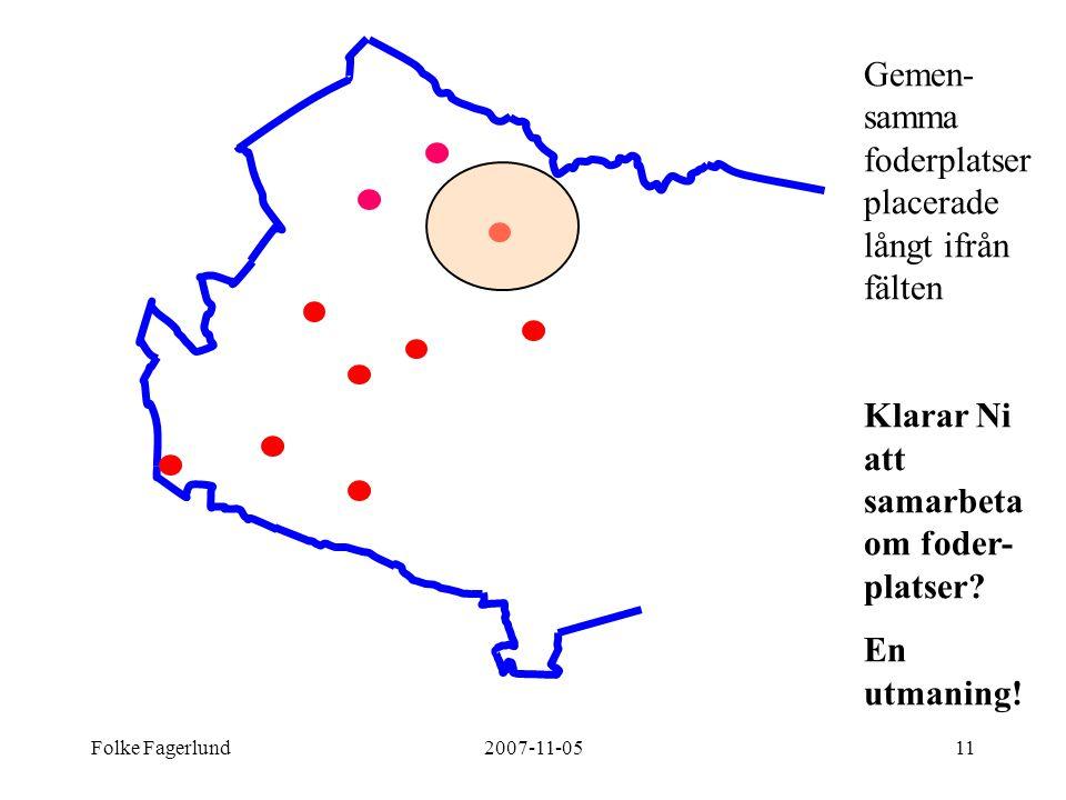Gemen-samma foderplatser placerade långt ifrån fälten