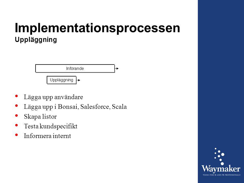 Implementationsprocessen Uppläggning