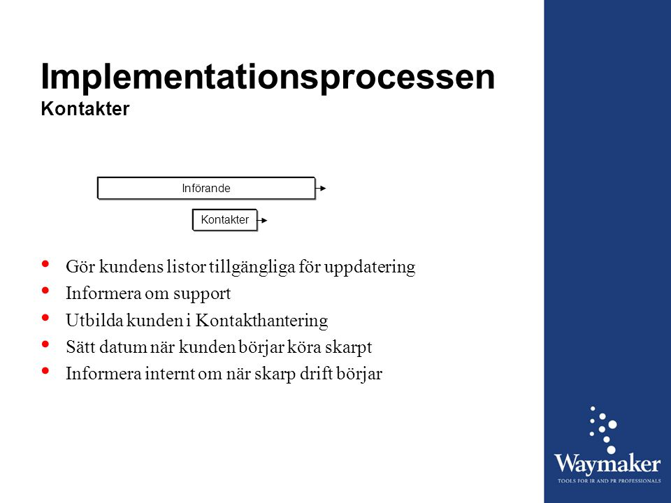 Implementationsprocessen Kontakter