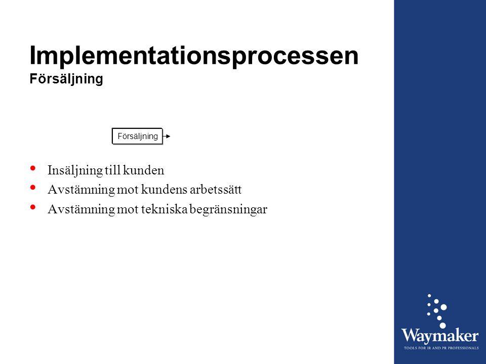 Implementationsprocessen Försäljning