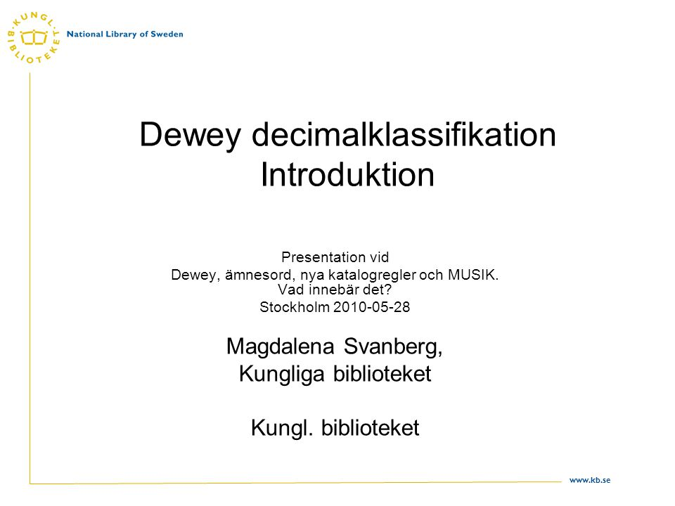 Dewey decimalklassifikation Introduktion