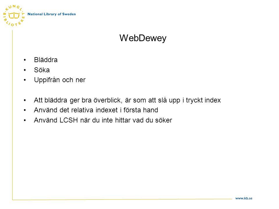 WebDewey Bläddra Söka Uppifrån och ner