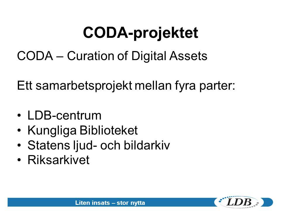 CODA-projektet CODA – Curation of Digital Assets