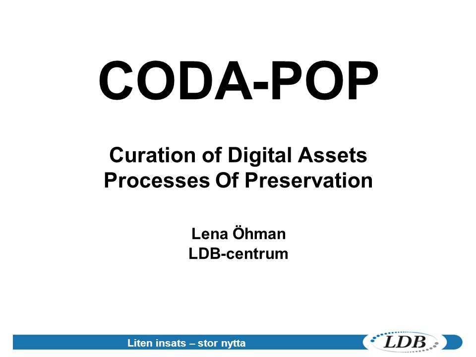 Curation of Digital Assets Processes Of Preservation
