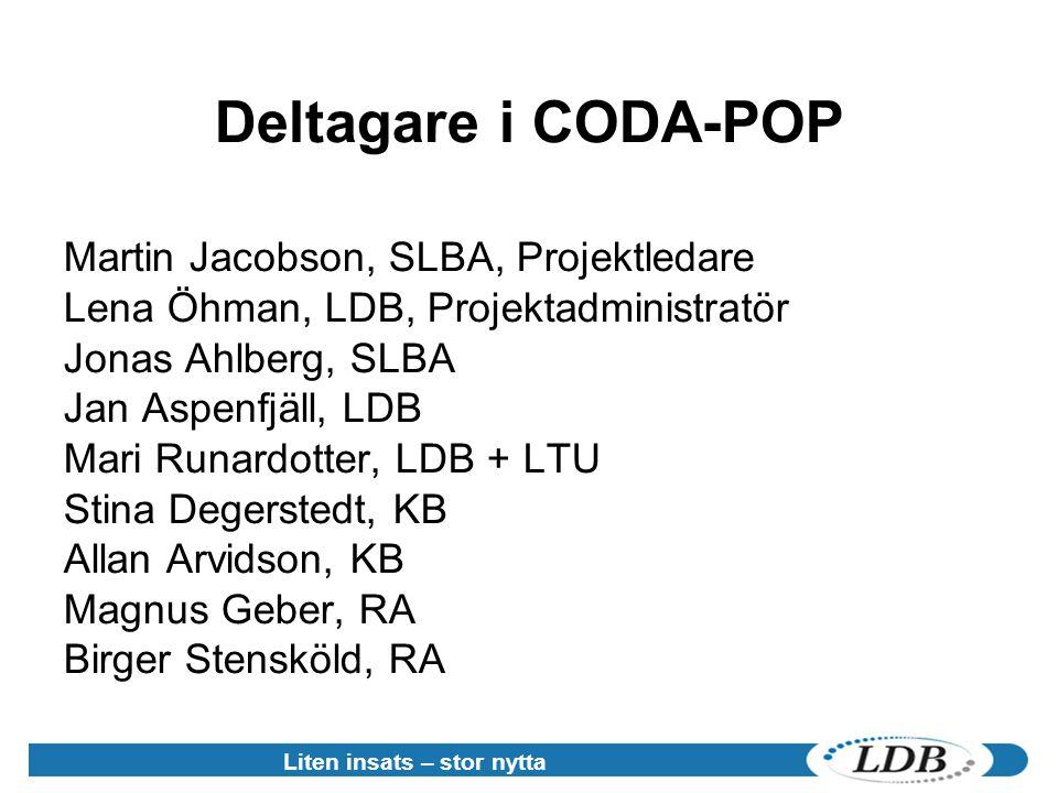 Deltagare i CODA-POP Martin Jacobson, SLBA, Projektledare