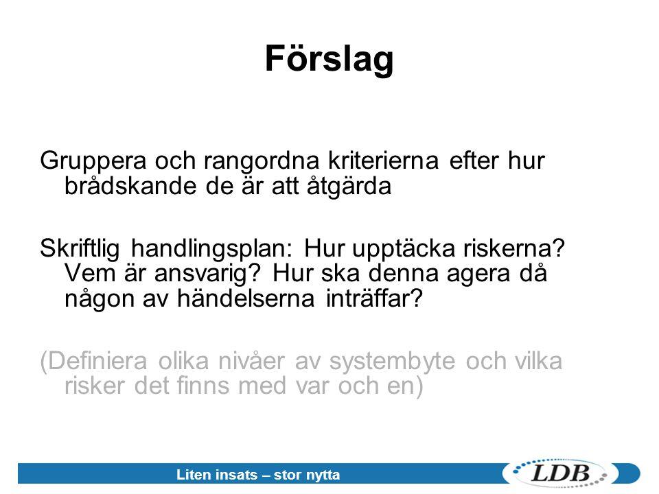 Förslag Gruppera och rangordna kriterierna efter hur brådskande de är att åtgärda.