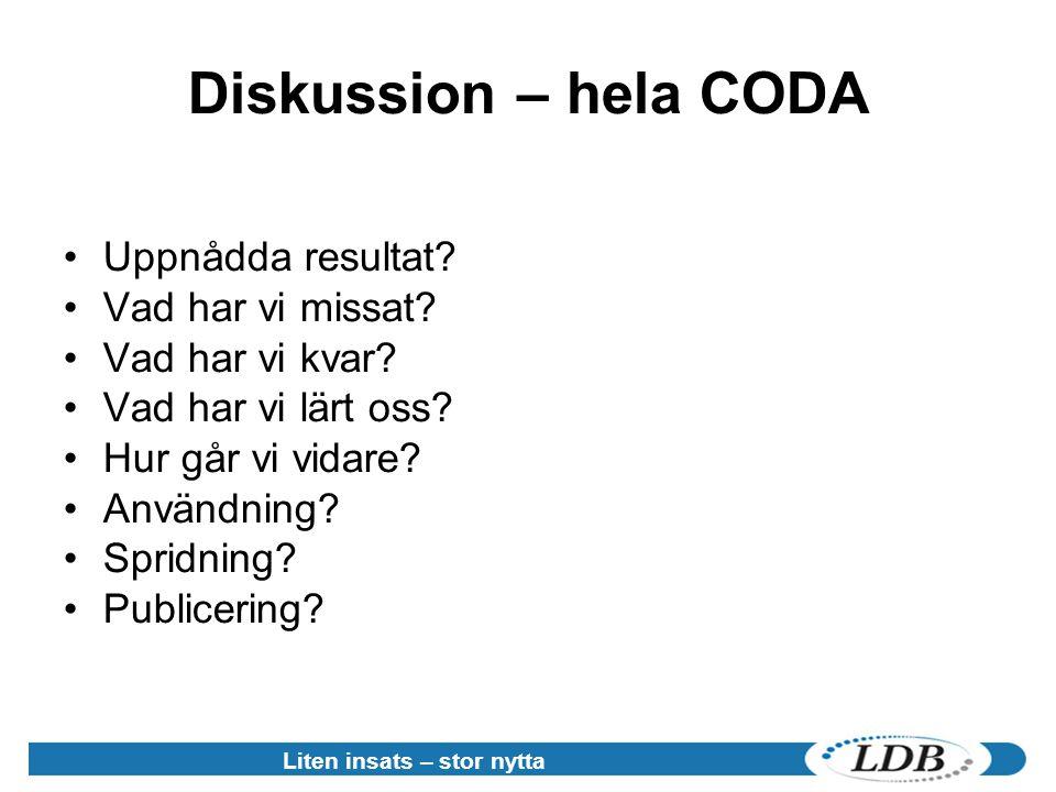 Diskussion – hela CODA Uppnådda resultat Vad har vi missat