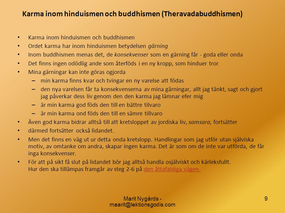 Karma inom hinduismen och buddhismen (Theravadabuddhismen)
