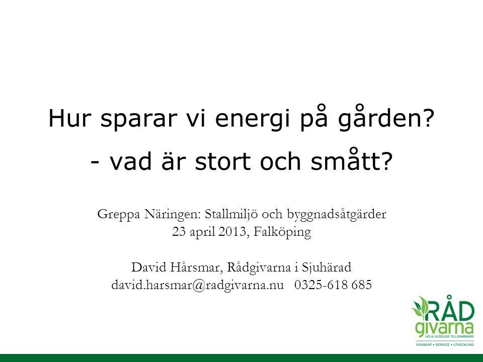 Hur sparar vi energi på gården - vad är stort och smått