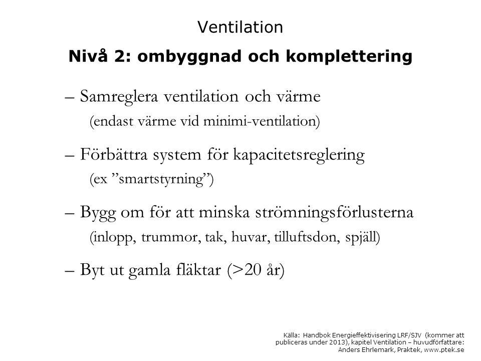 Ventilation Nivå 2: ombyggnad och komplettering