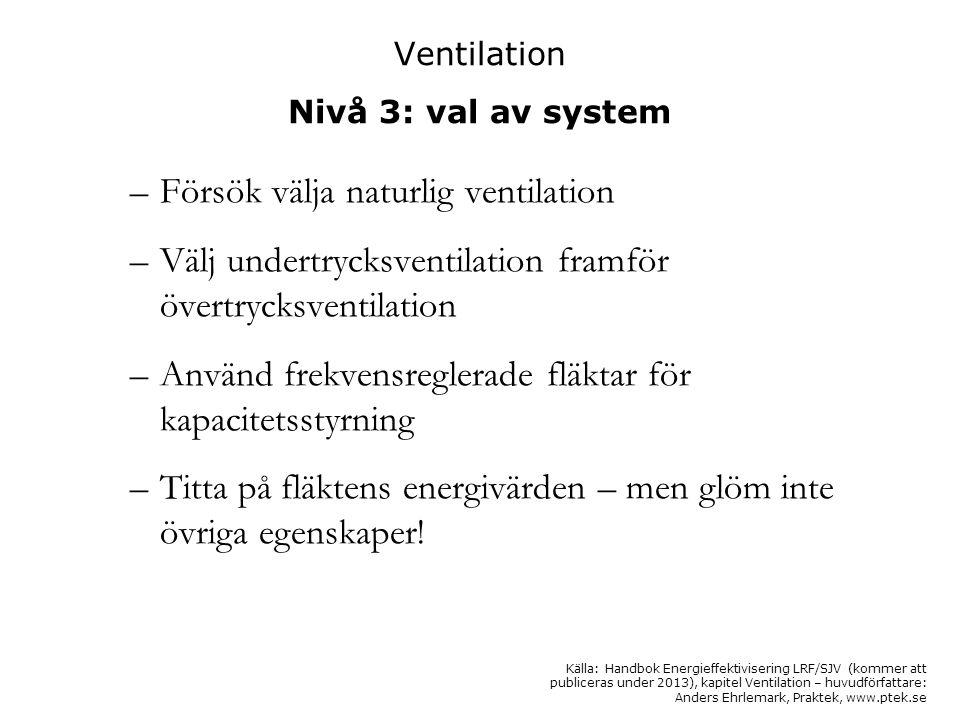 Ventilation Nivå 3: val av system