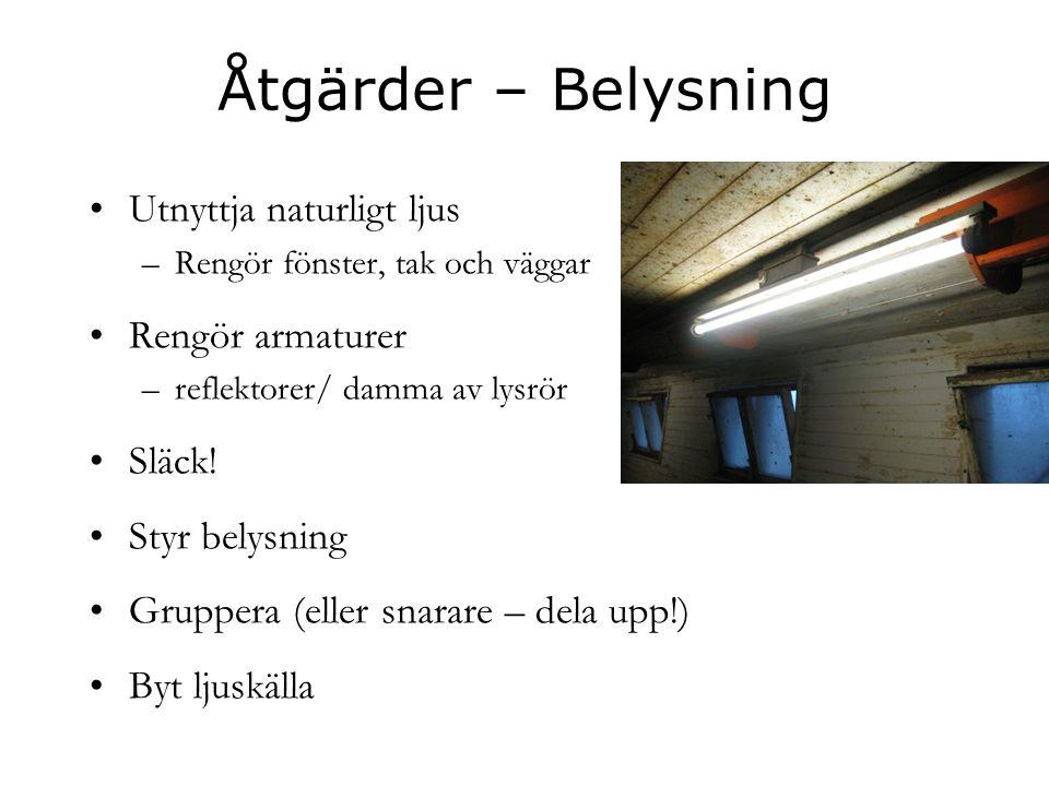 Åtgärder – Belysning Utnyttja naturligt ljus Rengör armaturer Släck!
