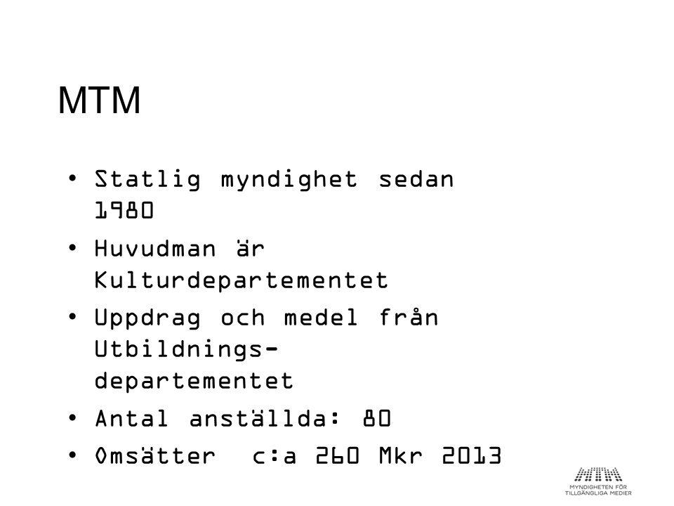 MTM Statlig myndighet sedan 1980 Huvudman är Kulturdepartementet