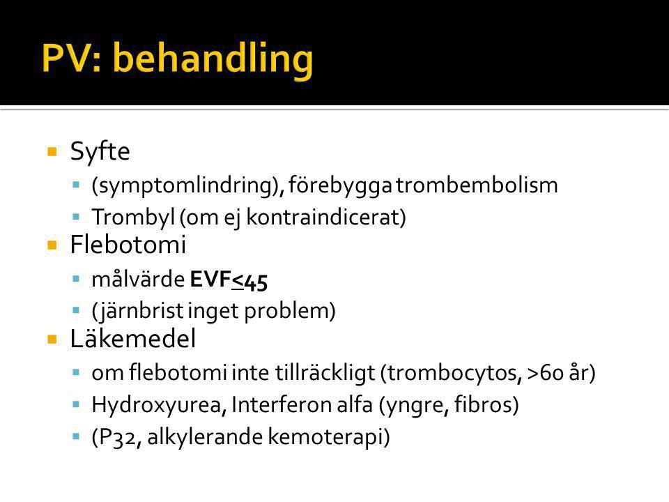 PV: behandling Syfte Flebotomi Läkemedel