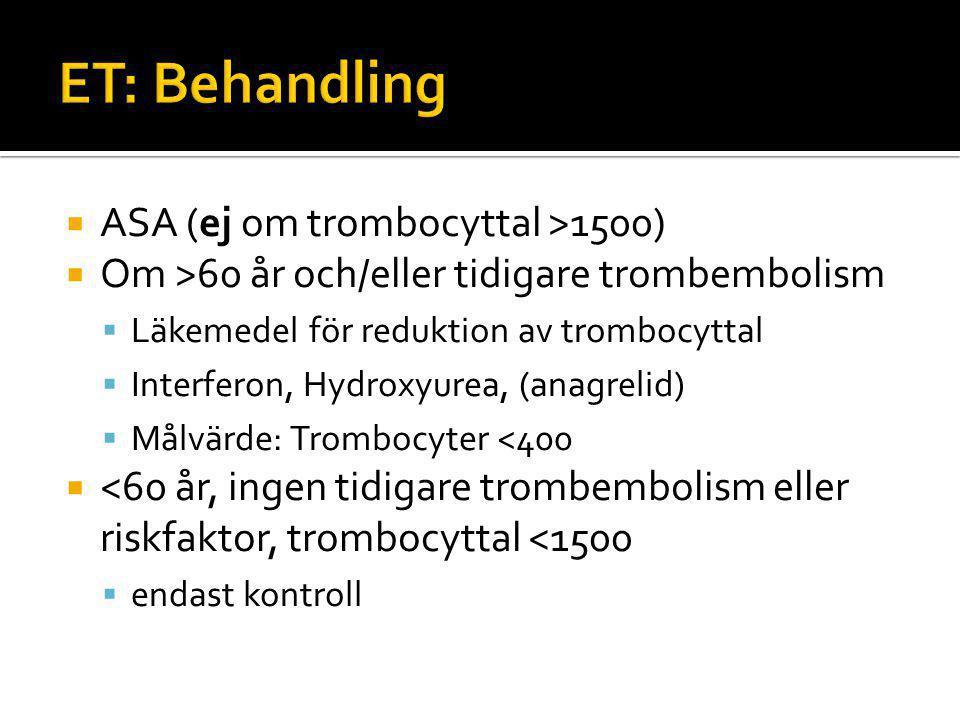 ET: Behandling ASA (ej om trombocyttal >1500)