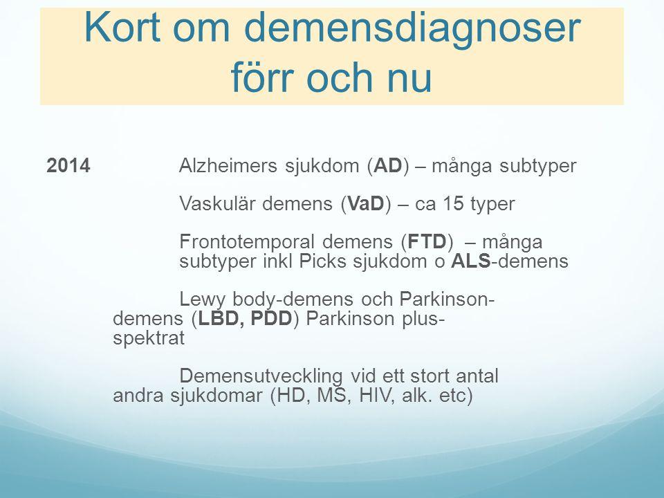 Kort om demensdiagnoser förr och nu