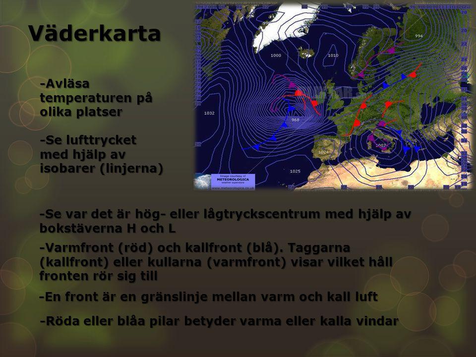 Väderkarta -Avläsa temperaturen på olika platser