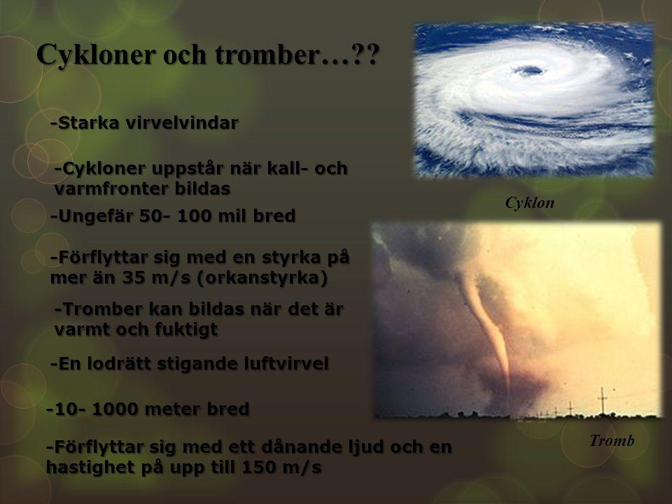 Cykloner och tromber… -Starka virvelvindar