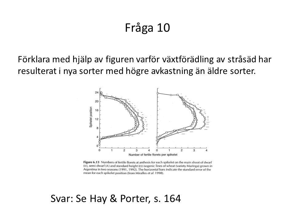 Fråga 10 Svar: Se Hay & Porter, s. 164