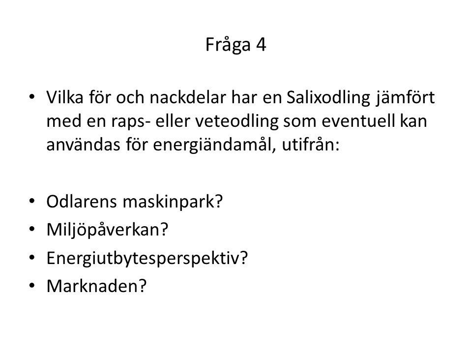 Fråga 4 Vilka för och nackdelar har en Salixodling jämfört med en raps- eller veteodling som eventuell kan användas för energiändamål, utifrån: