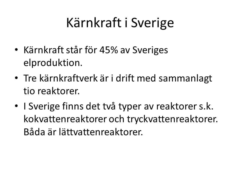 Kärnkraft i Sverige Kärnkraft står för 45% av Sveriges elproduktion.