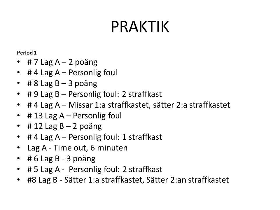 PRAKTIK # 7 Lag A – 2 poäng # 4 Lag A – Personlig foul