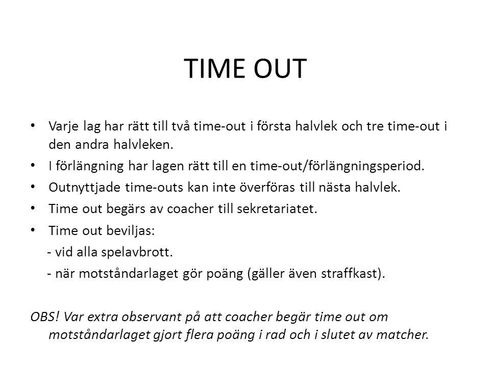 TIME OUT Varje lag har rätt till två time-out i första halvlek och tre time-out i den andra halvleken.