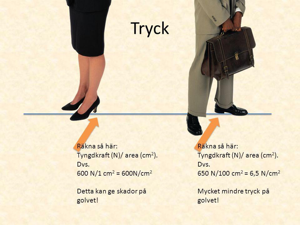 Tryck Räkna så här: Tyngdkraft (N)/ area (cm2). Dvs.