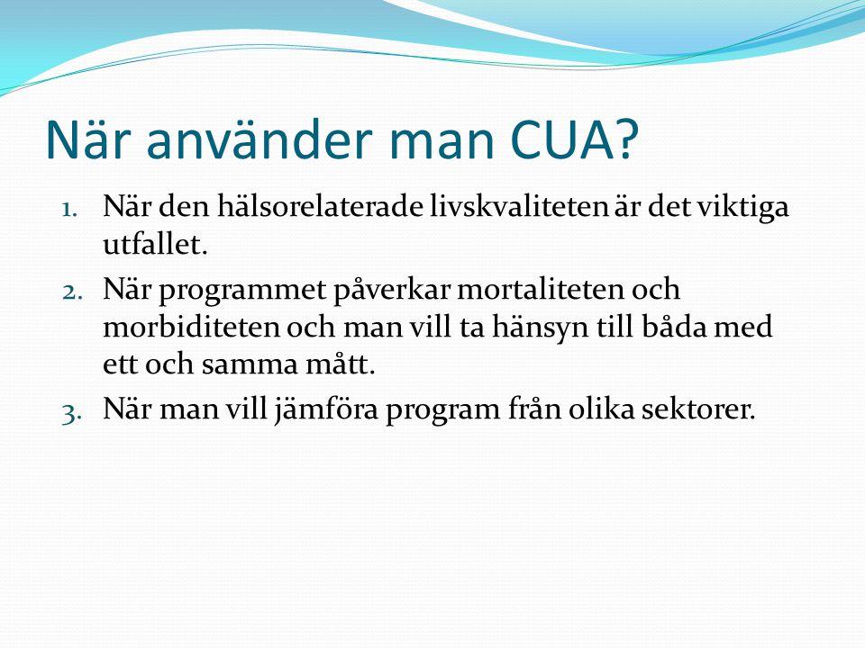 När använder man CUA När den hälsorelaterade livskvaliteten är det viktiga utfallet.