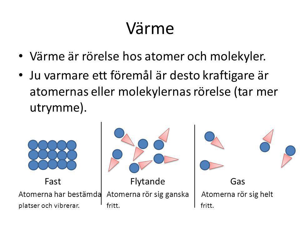 Värme Värme är rörelse hos atomer och molekyler.