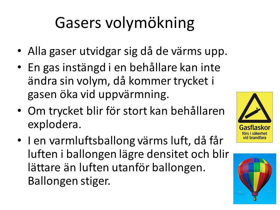 Gasers volymökning Alla gaser utvidgar sig då de värms upp.