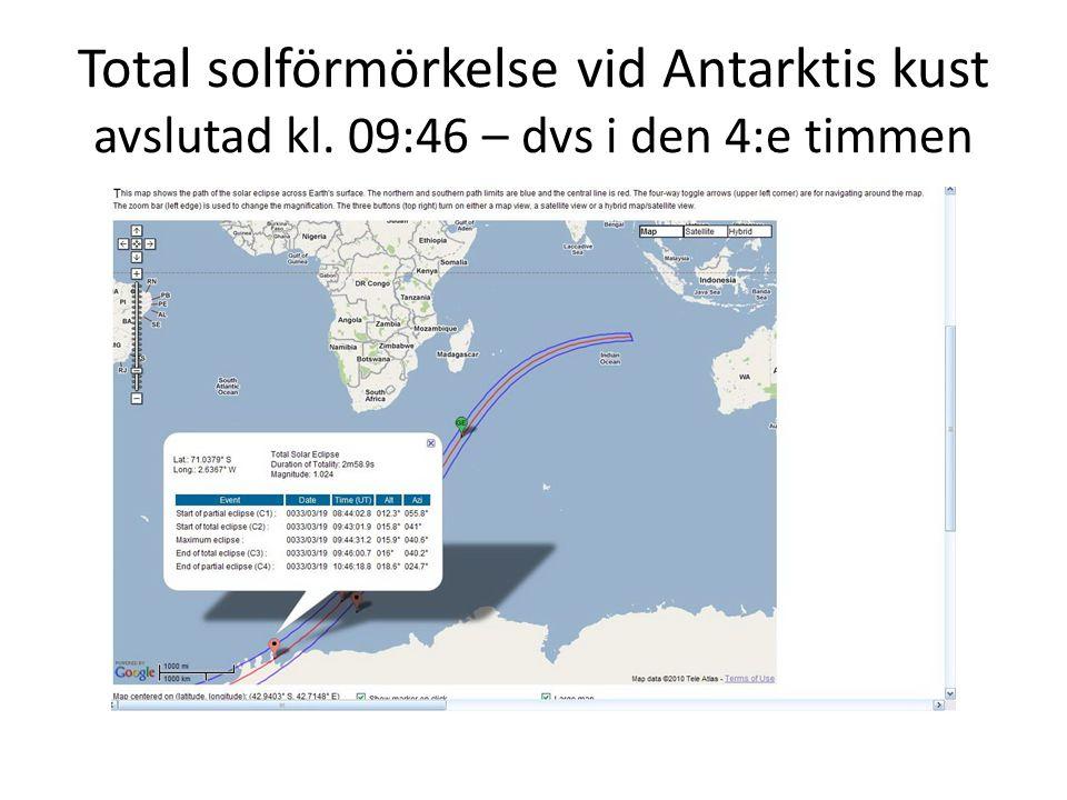 Total solförmörkelse vid Antarktis kust avslutad kl