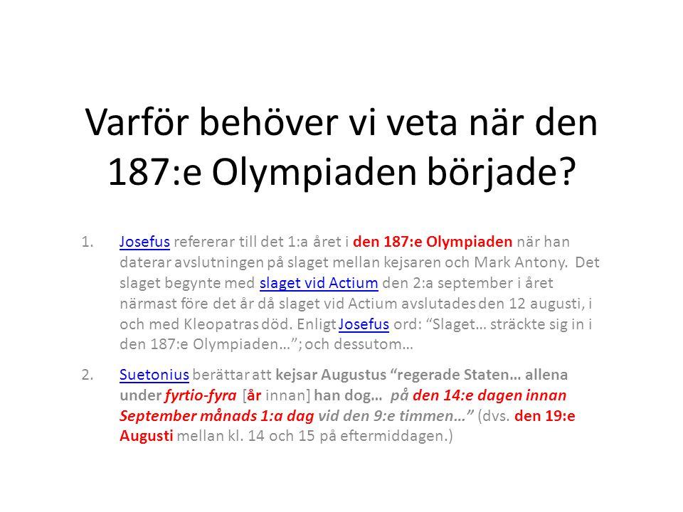 Varför behöver vi veta när den 187:e Olympiaden började