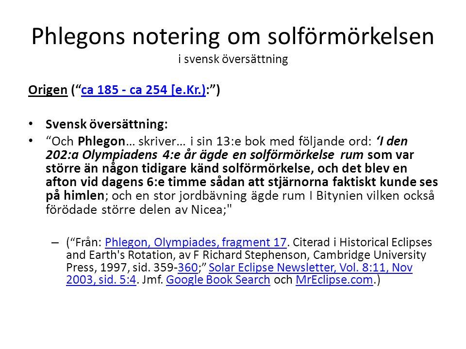 Phlegons notering om solförmörkelsen i svensk översättning