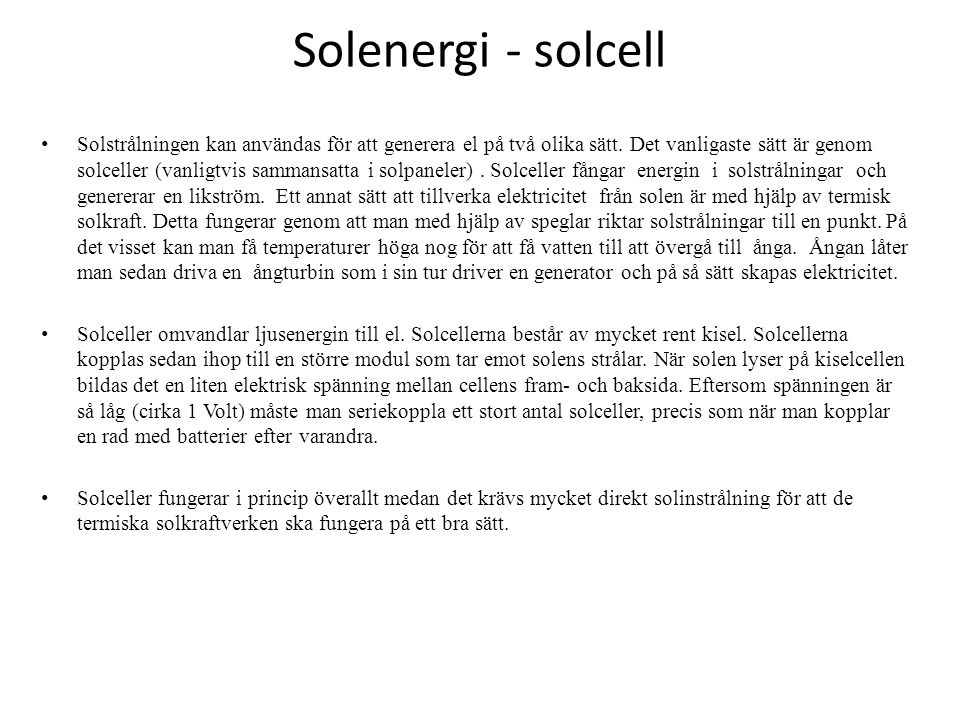 Solenergi - solcell