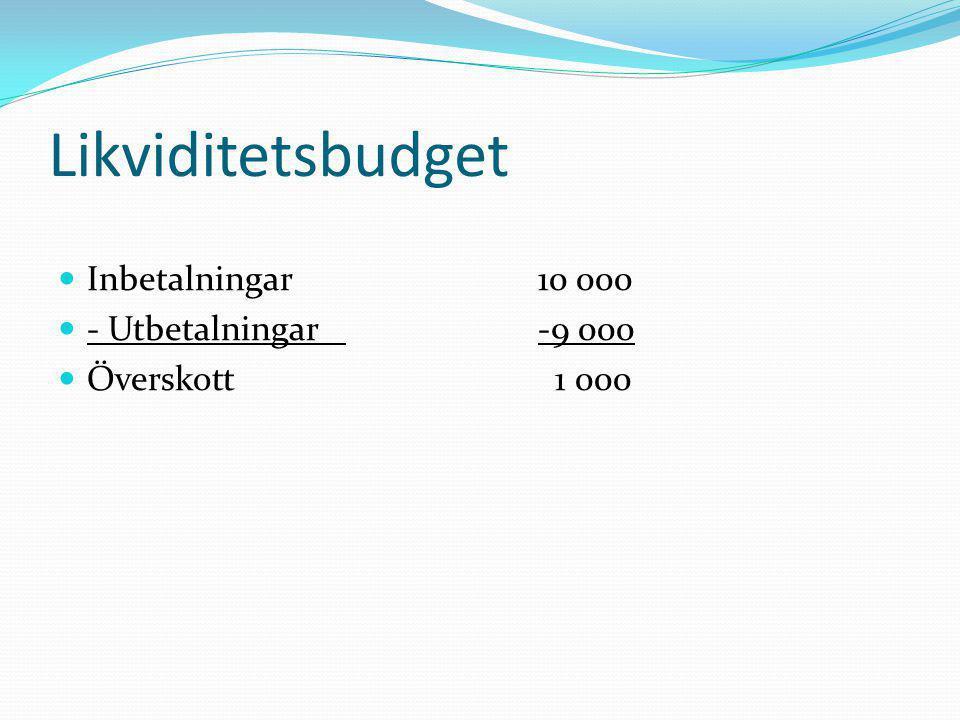 Likviditetsbudget Inbetalningar 10 000 - Utbetalningar -9 000