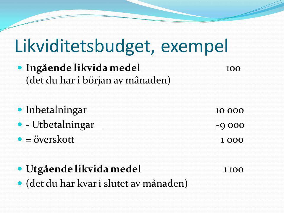 Likviditetsbudget, exempel