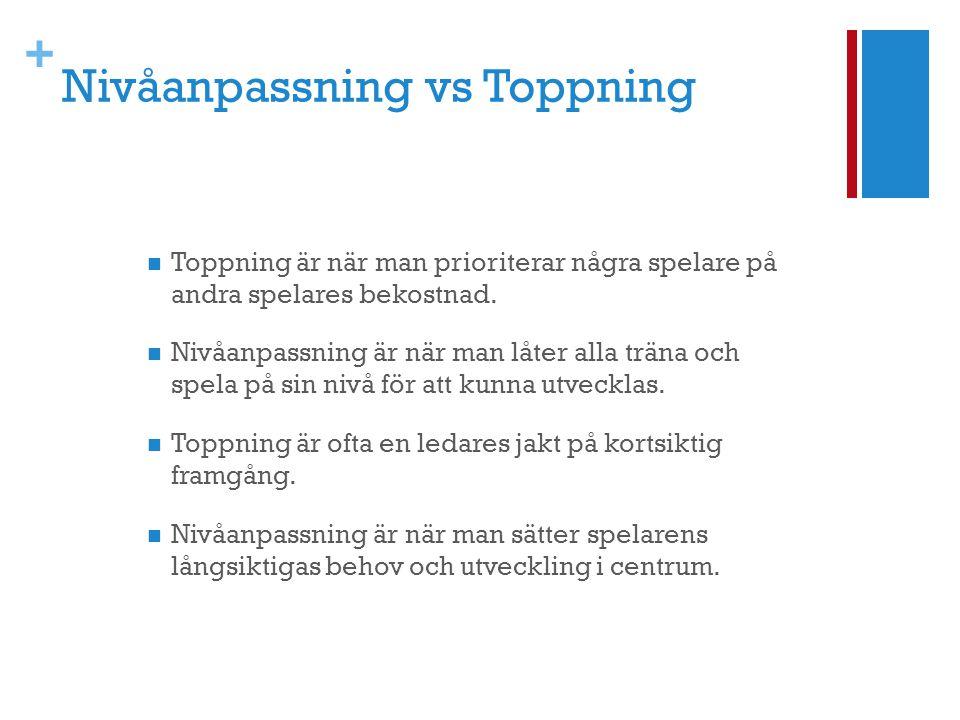 Nivåanpassning vs Toppning