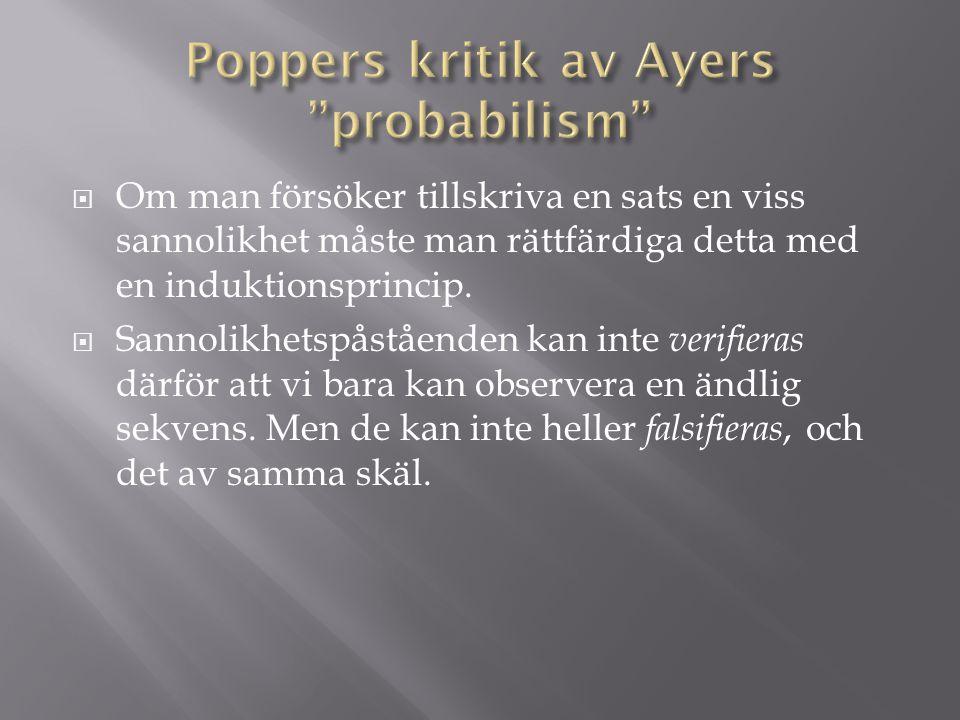 Poppers kritik av Ayers probabilism