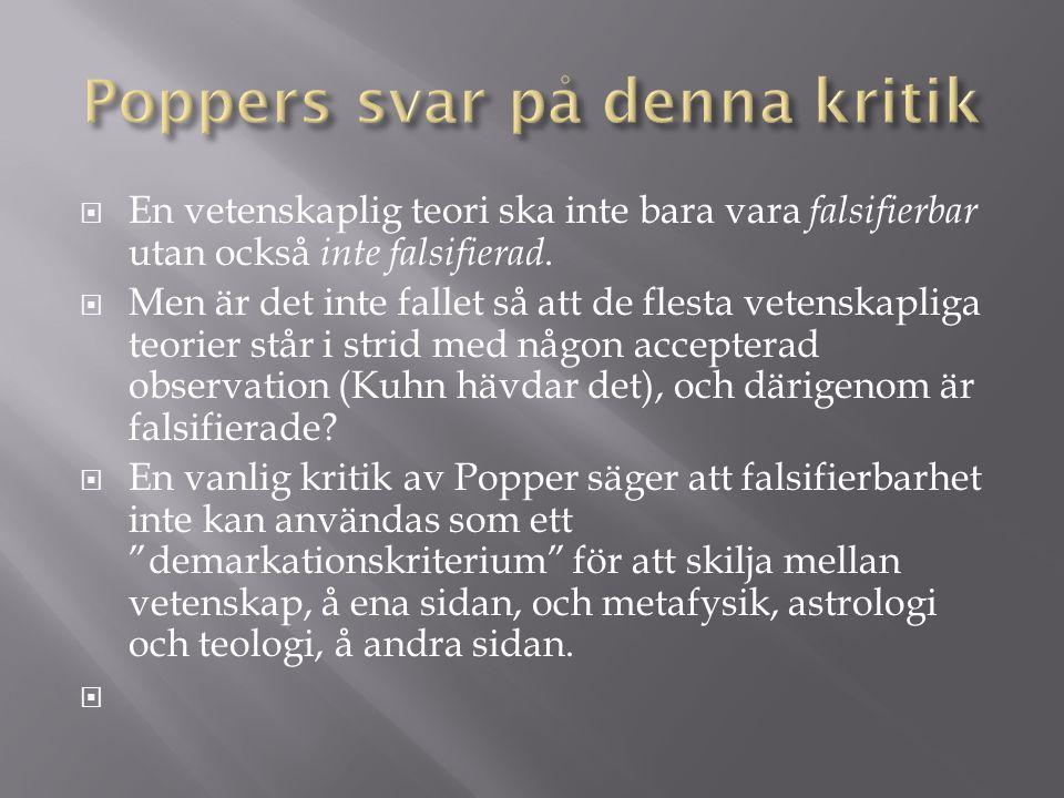 Poppers svar på denna kritik