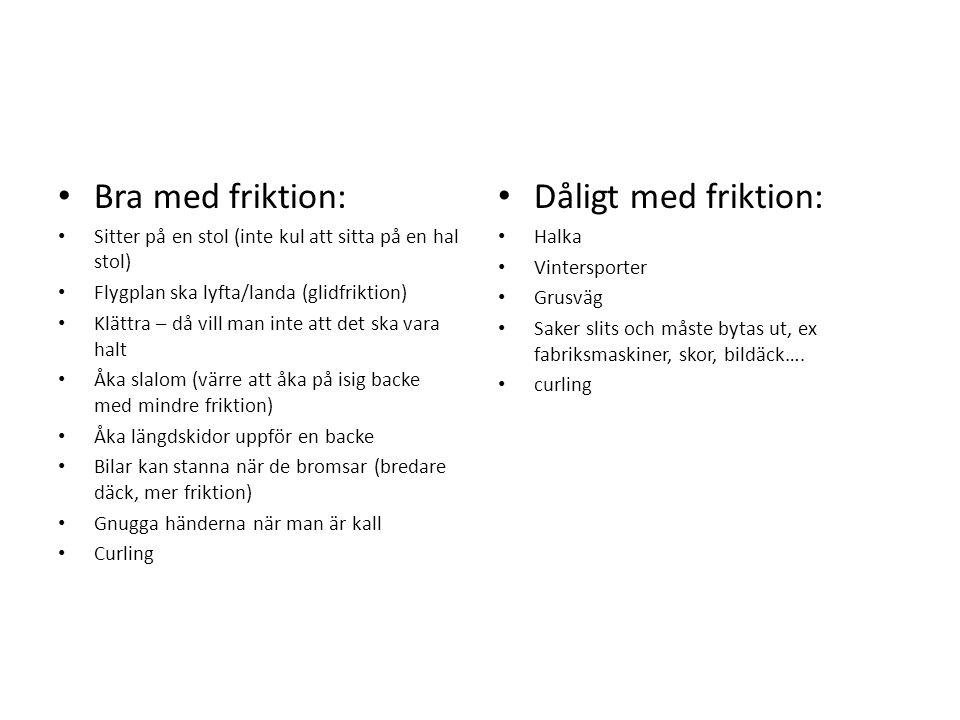 Bra med friktion: Dåligt med friktion: