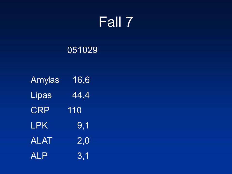 Fall 7 051029 Amylas 16,6 Lipas 44,4 CRP 110 LPK 9,1 ALAT 2,0 ALP 3,1