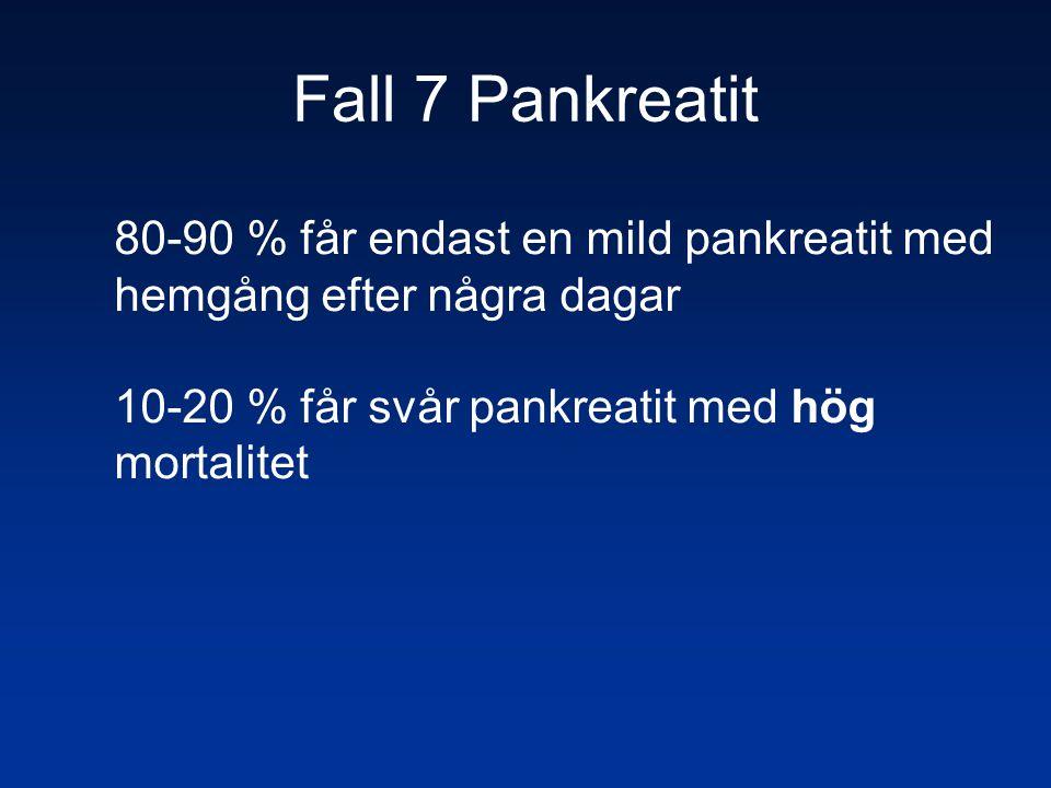 Fall 7 Pankreatit 80-90 % får endast en mild pankreatit med hemgång efter några dagar.