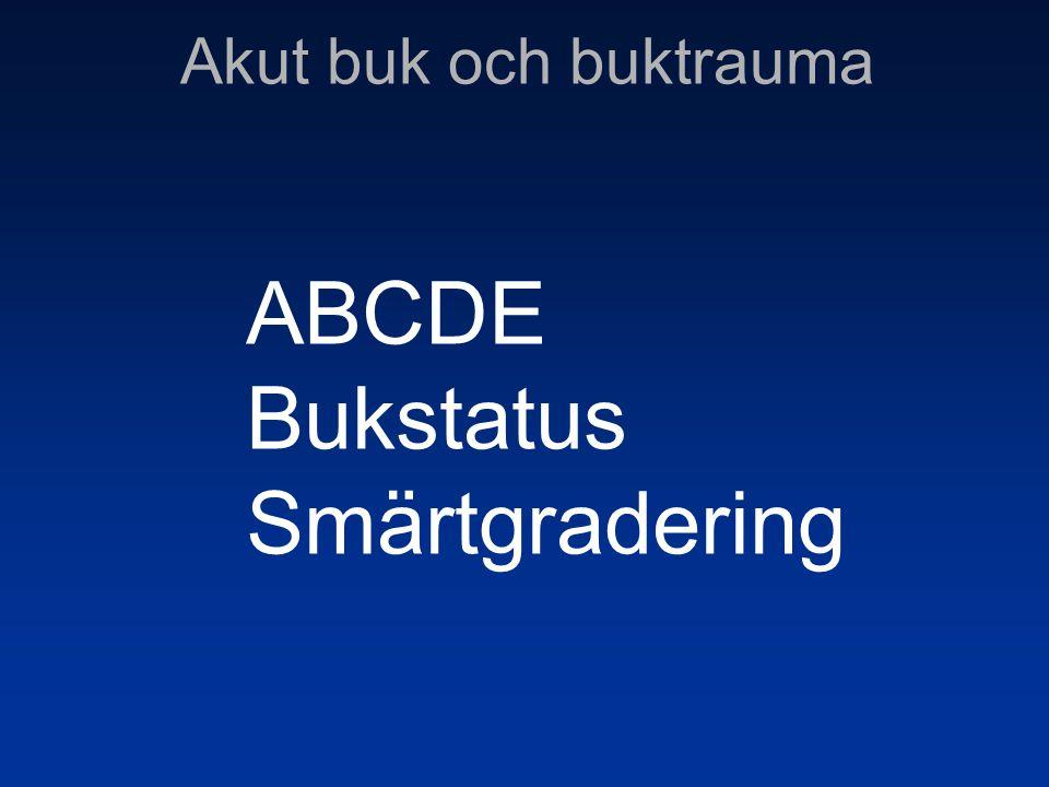 Akut buk och buktrauma ABCDE Bukstatus Smärtgradering