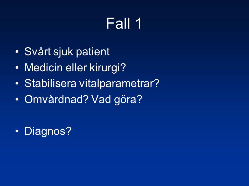 Fall 1 Svårt sjuk patient Medicin eller kirurgi